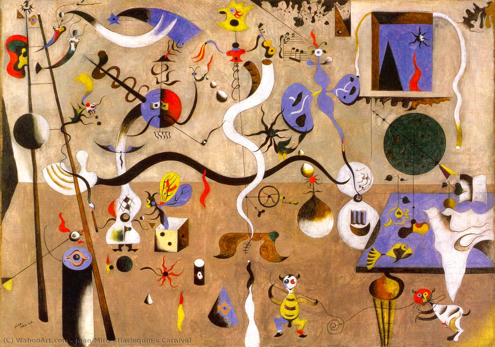 famous painting Carnevale di Arlecchino of Joan Miro