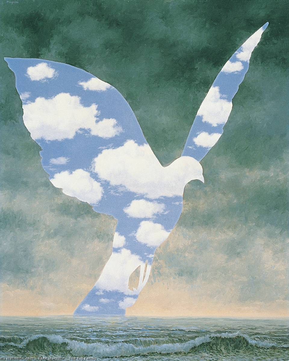 famous painting il grande famiglia of Rene Magritte