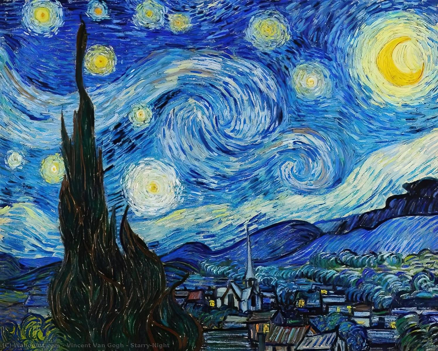 famous painting Notte stellata of Vincent Van Gogh
