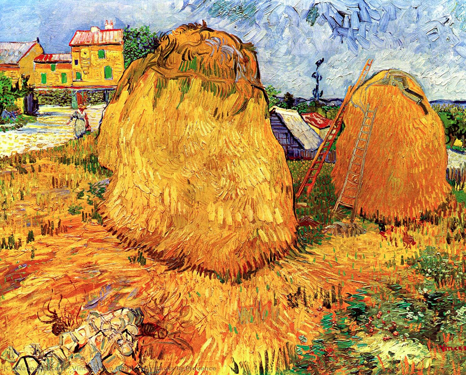 famous painting Mucchi di fieno in Provenza of Vincent Van Gogh