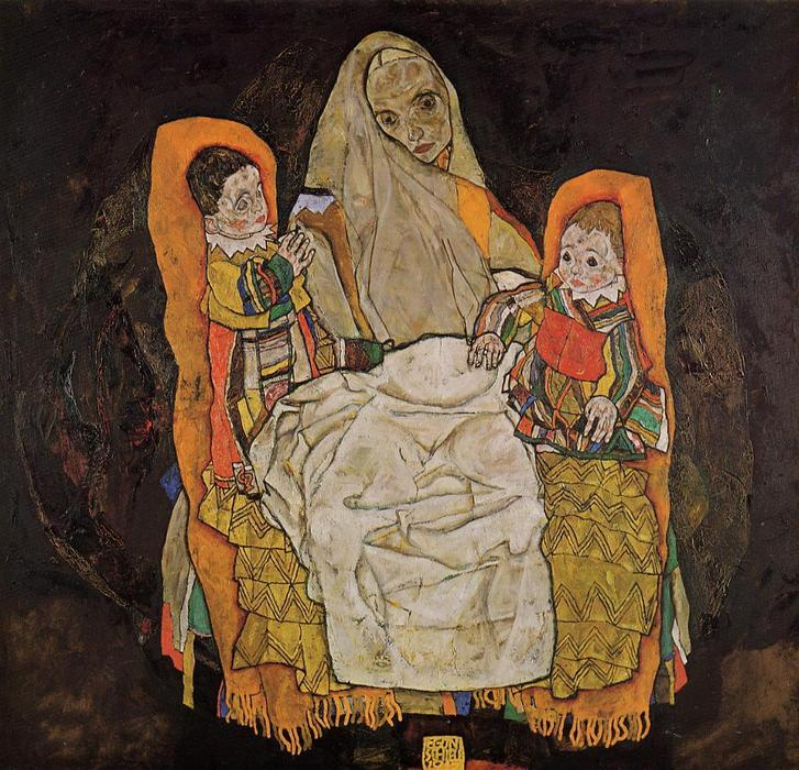 famous painting madre con due figli of Egon Schiele