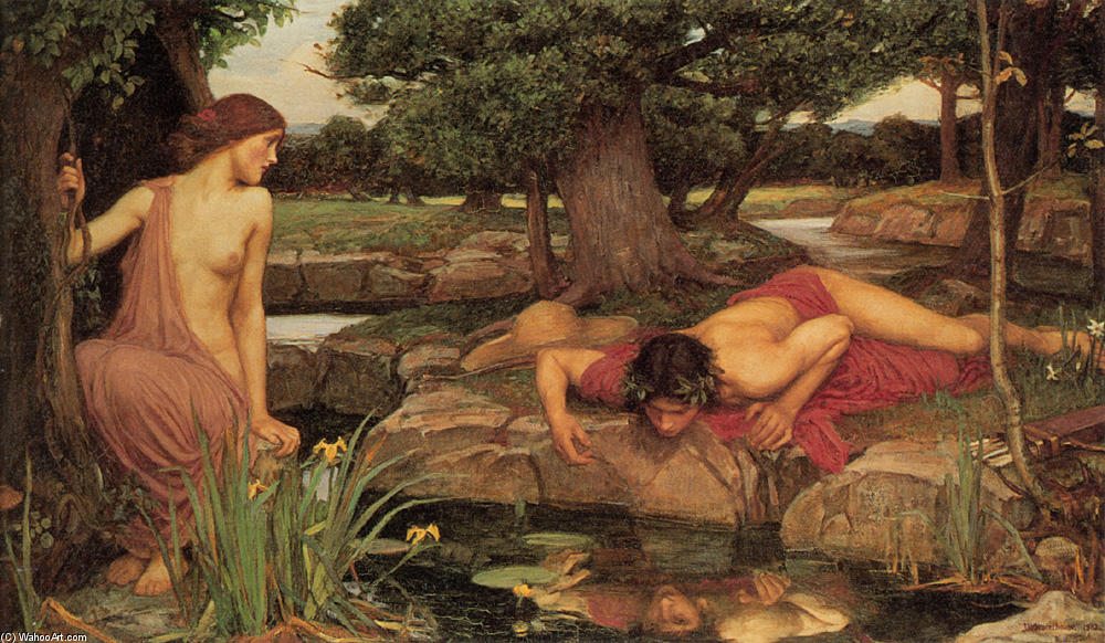 famous painting ECO e le  Narciso  of John William Waterhouse