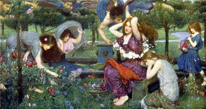 famous painting Flora e Zephyrs of John William Waterhouse