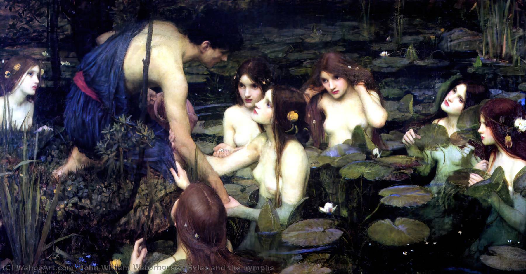 famous painting Hylas e le ninfe of John William Waterhouse