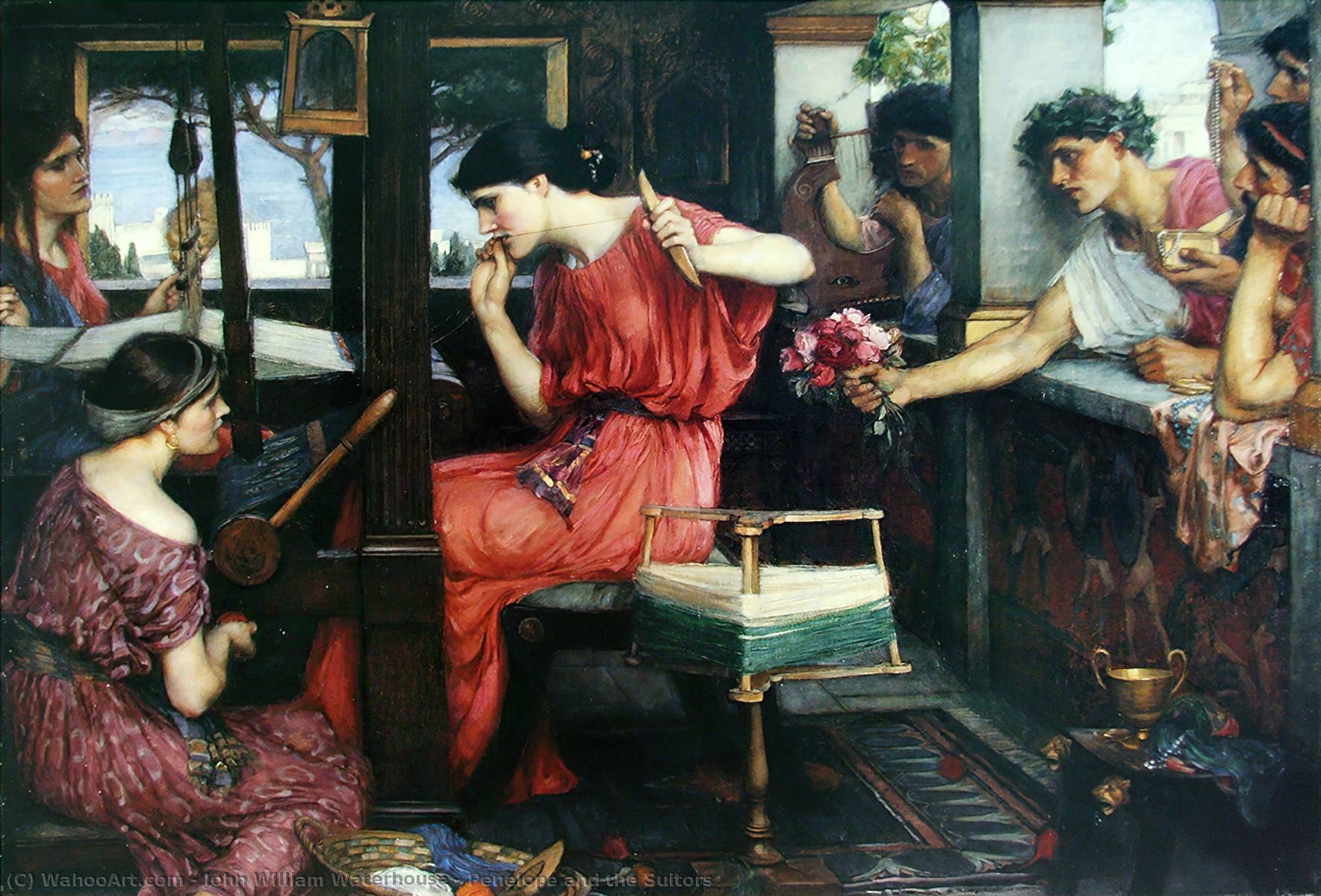 famous painting Penelope e Proci of John William Waterhouse