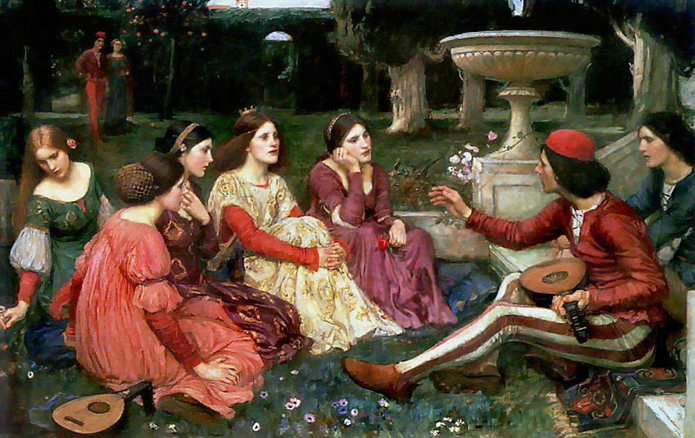 famous painting Racconto dal Decameron of John William Waterhouse