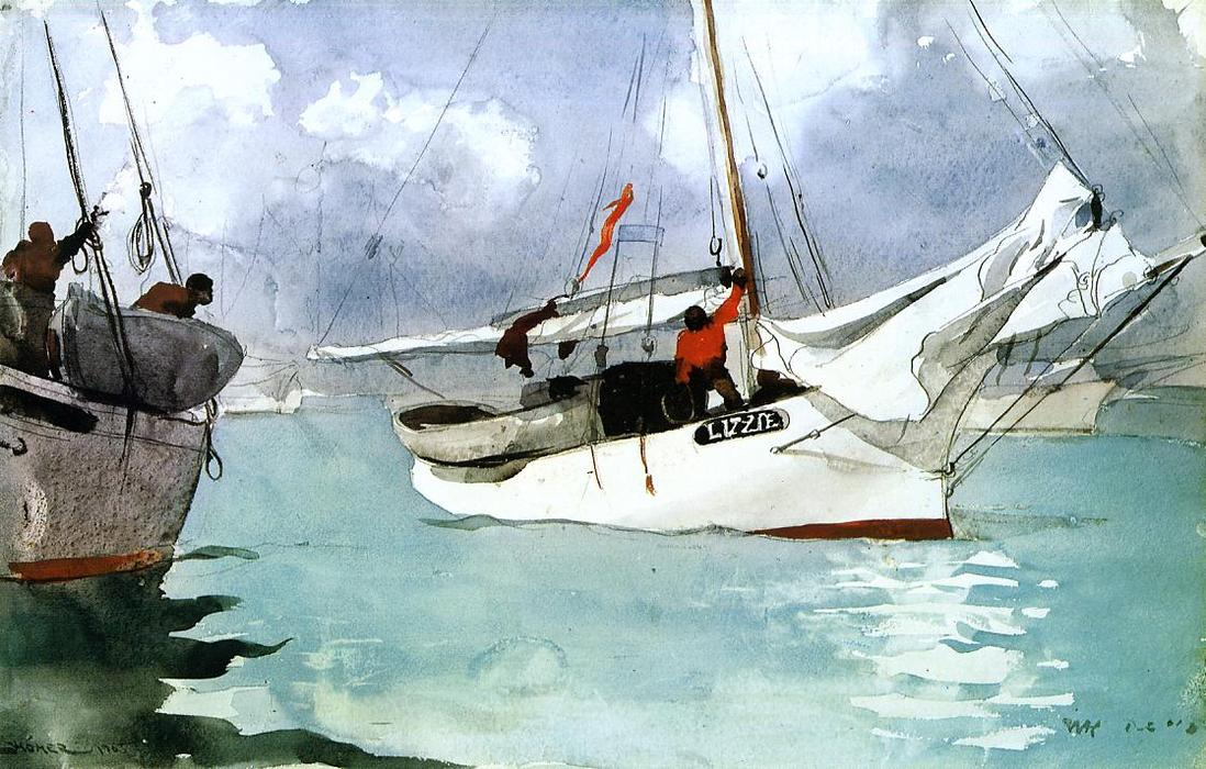 famous painting barche da pesca Chiave  Ovest  of Winslow Homer