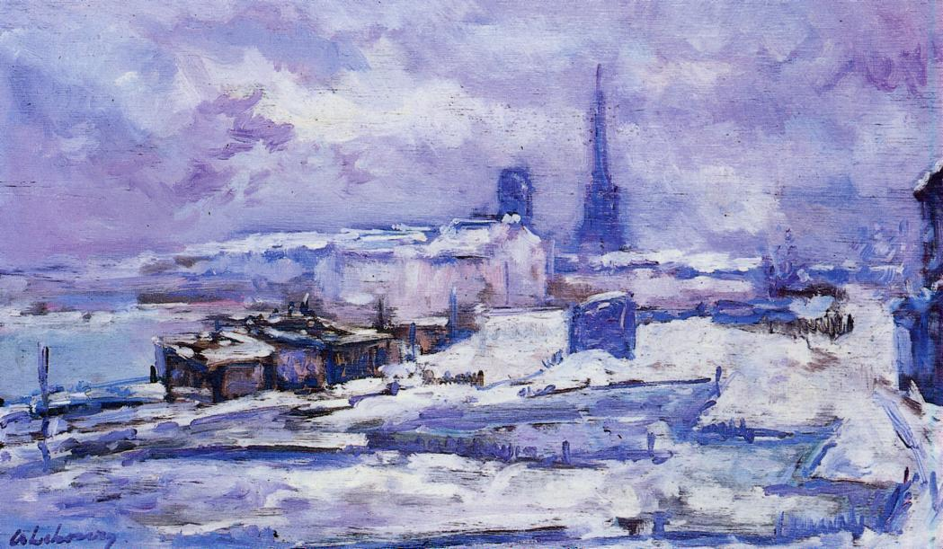 famous painting Rouen , effect snow of Albert-Charles Lebourg (Albert-Marie Lebourg)