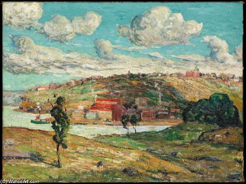 famous painting Ombre , spuyten duyvil Collina of Ernest Lawson
