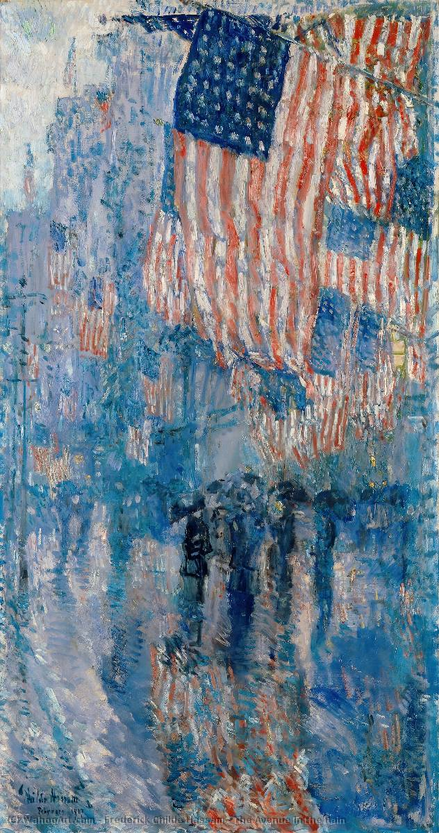 famous painting il viale nel pioggia of Frederick Childe Hassam