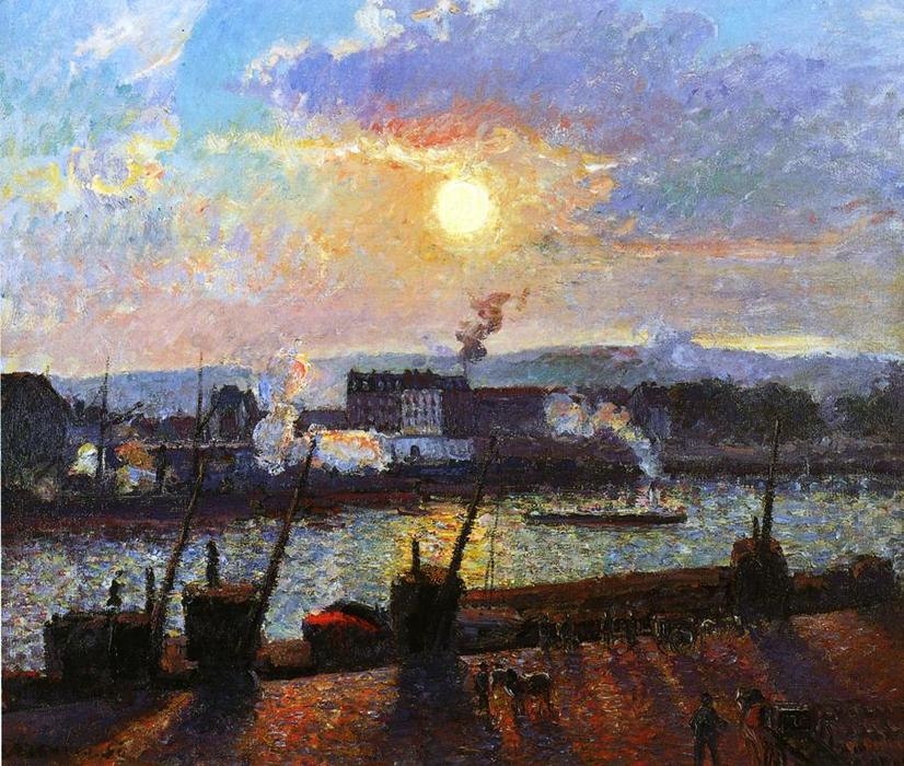 famous painting Tramonto , Rouen of Camille Pissarro