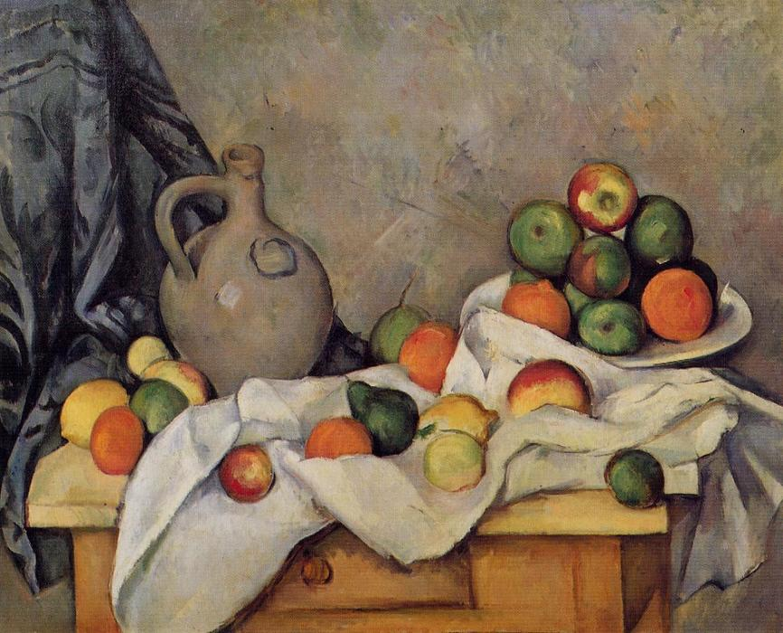 famous painting tenda brocca  e le  Frutta  of Paul Cezanne