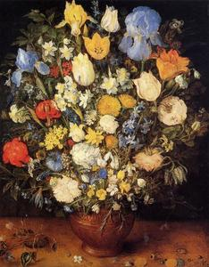 Jan Brueghel The Elder - bouquet di fiori in a ceramica vaso