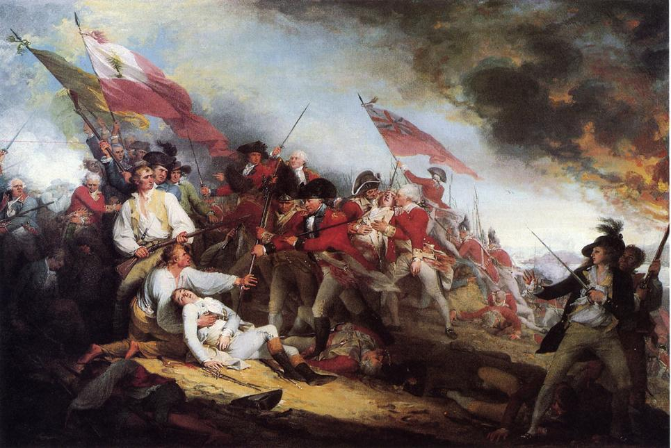 famous painting la morte di general warren al Battaglia di Bunker's Collina of John Trumbull