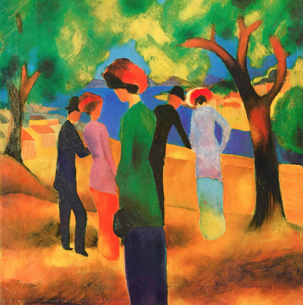 famous painting donna in un Verde  giacca  of August Macke