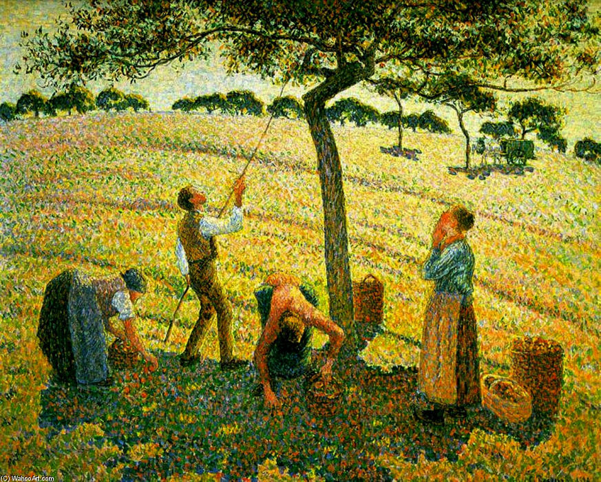 famous painting raccolta di mele a Eragny-sur-Epte of Camille Pissarro