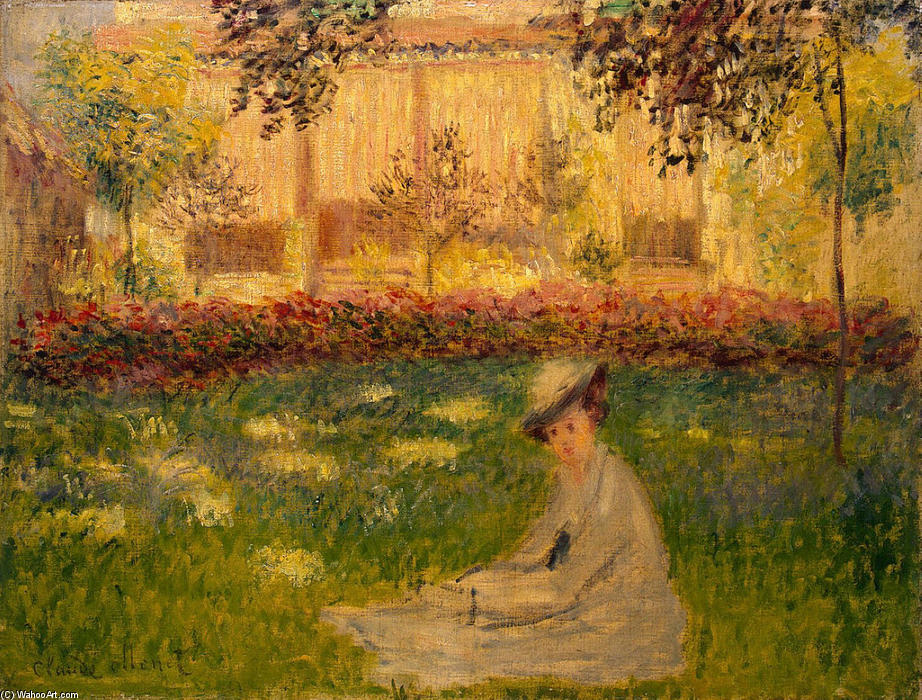 famous painting donna a giardino of Claude Monet