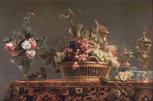 famous painting Uva in un cestino e rose in un vaso of Frans Snyders