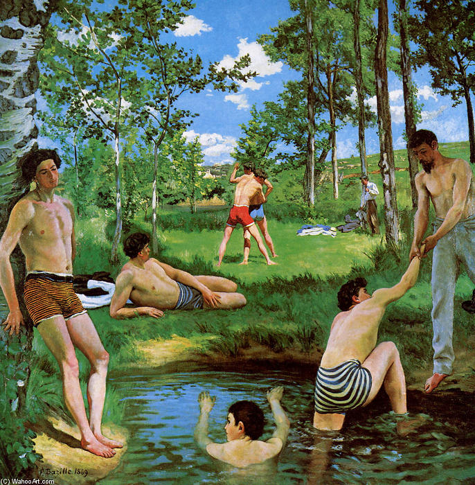 famous painting bagnanti Estate  scena  of Jean Frederic Bazille