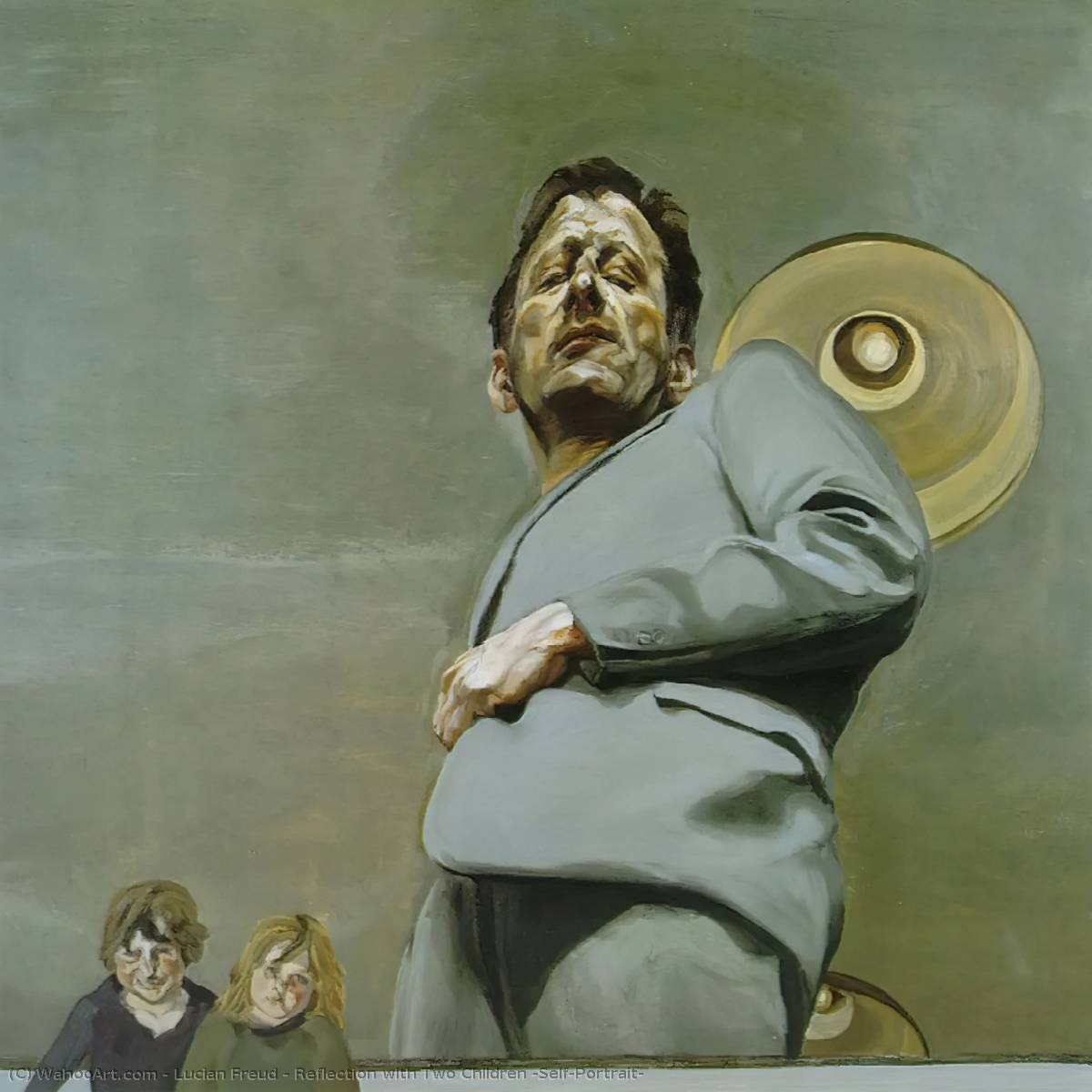 famous painting riflessione con  due  bambini  autoritratto  of Lucian Freud