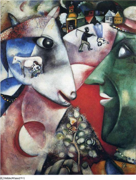famous painting io e il villaggio of Marc Chagall