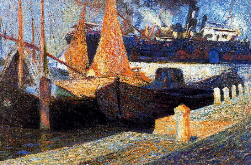 famous painting Barche in Sunlight of Umberto Boccioni