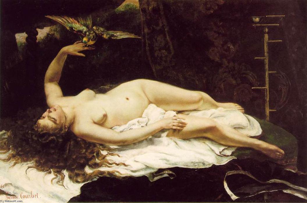 famous painting donna con a pappagallo of Gustave Courbet