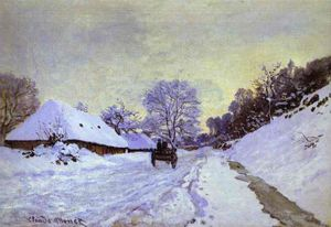 Claude Monet - il carrello ; Snow-Covered Road a Honfieur , con Saint-Simeon Fattoria