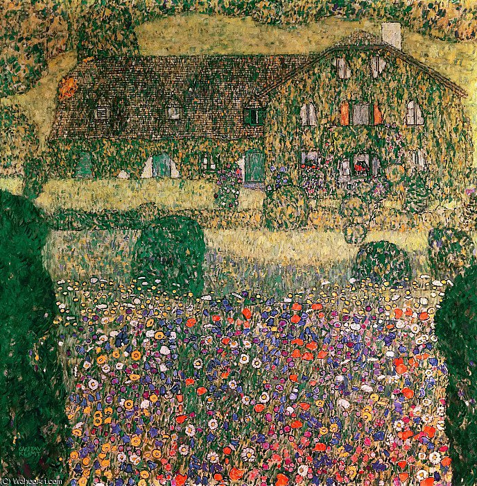 famous painting Country House by the Attersee of Gustav Klimt