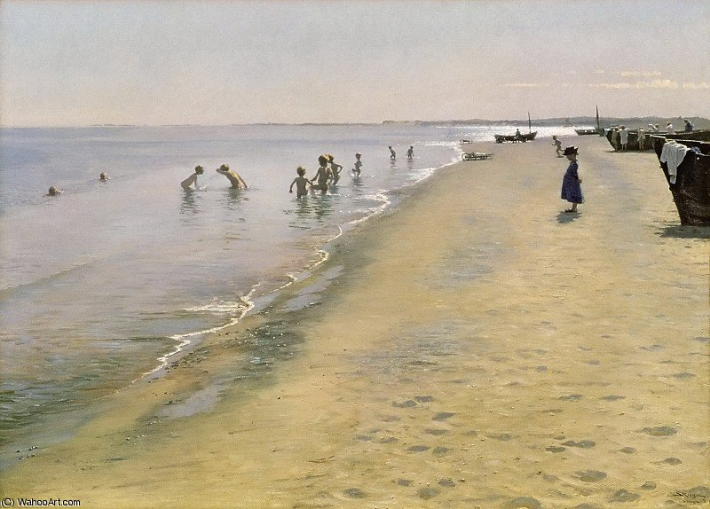 famous painting estate giorno al south beach di Skagen of Peder Severin Kroyer