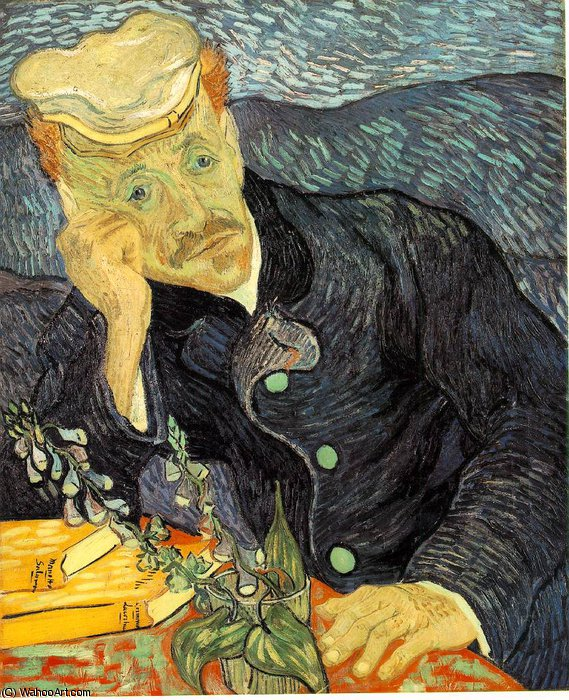 famous painting ritratto del dr . Gachet , Privato of Vincent Van Gogh